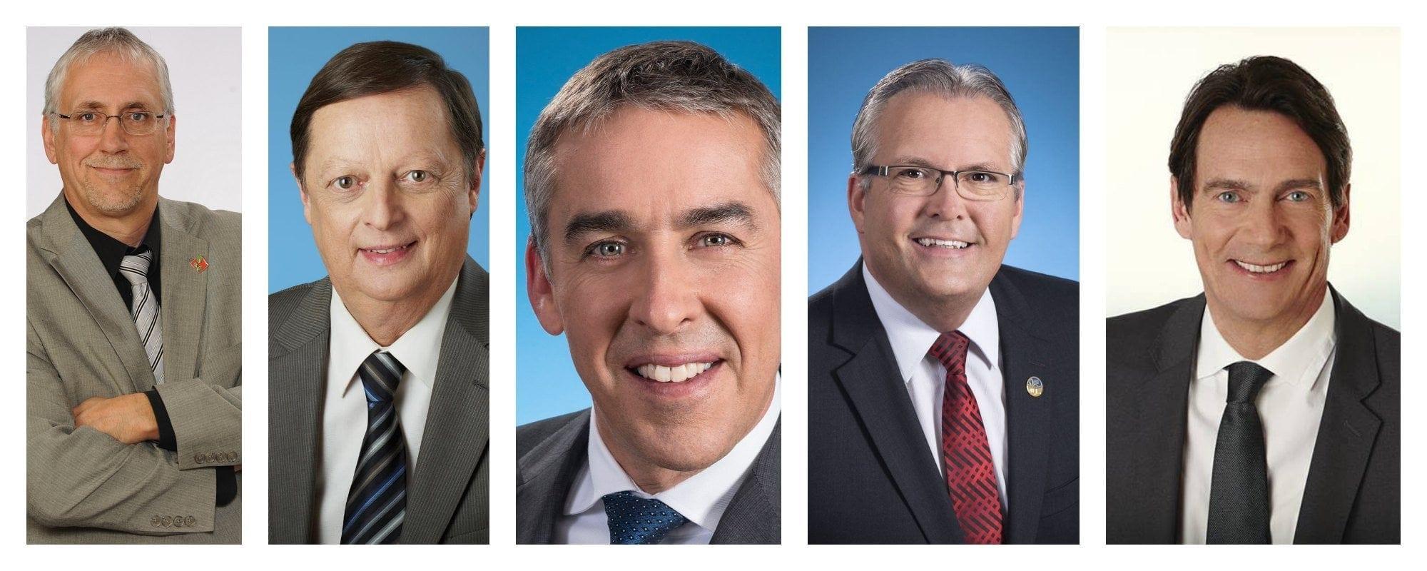 Les députés des environs. De gauche à droite: Pierre Dionne Labelle, député fédéral de Rivière-du-Nord, et ses collègues provinciaux; Claude Cousineau, Nicolas Marceau, Yves St-Denis et Pierre Karl Péladeau.