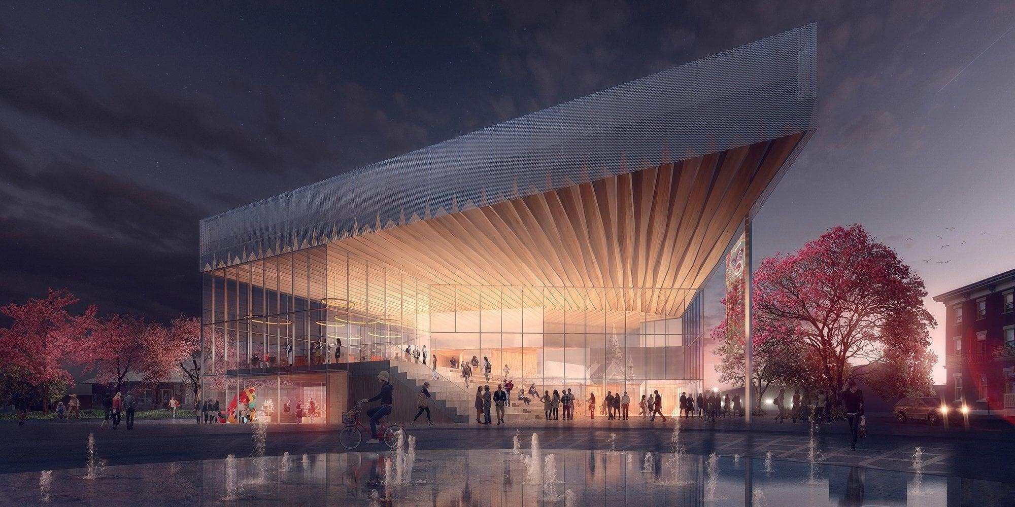La façade principale du bâtiment, un soir de spectacle, tel que conçu par la firme Atelier TAG | Jodoin Lamarre Pratte, architectes en consortium.