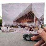 Voici à peu près ce que ça donne, si on place la projection de la nouvelle salle dans la réalité actuelle, lors du dévoilement en septembre 2014.