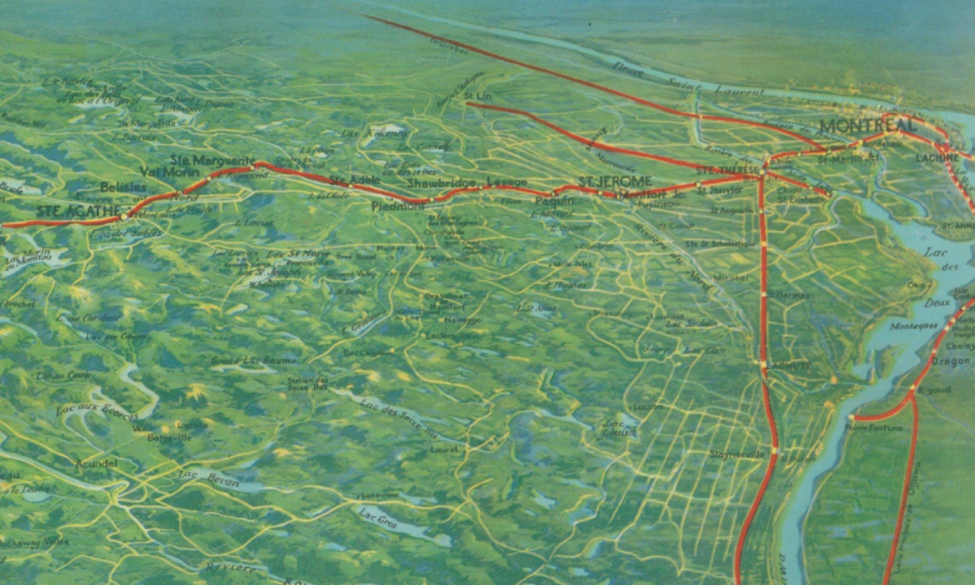 Détail d'une carte du chemin de fer du Canadien Pacifique, en 1915, via banq.qc.ca.