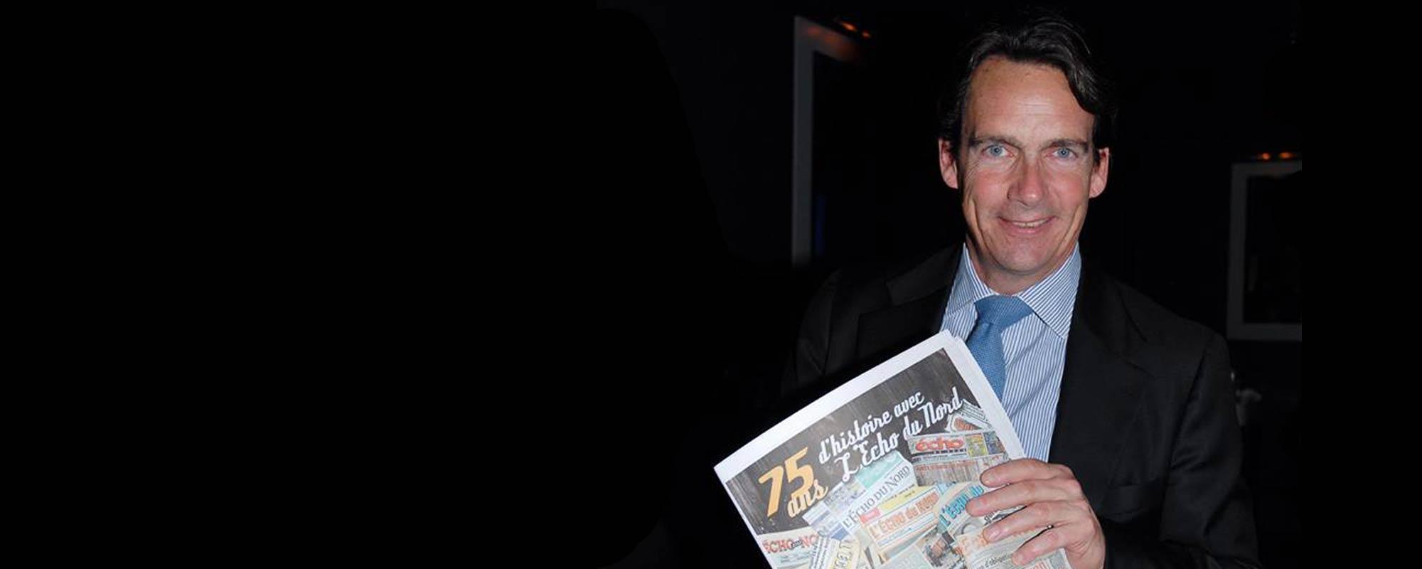 Pierre Karl Péladeau lors du 75e anniversaire de L'Écho du Nord. Il était alors à la tête de Québecor. Photo par André Bernier.