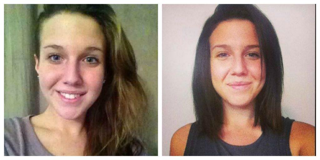 Les amis et les connaissances d'Émerise diffusent la photo de gauche, la police diffuse la photo de droite dans le but de retrouver Émerise Laliberté, disparue depuis le 31 mai.