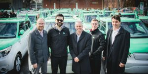 Lors du lancement de Téo Taxi, le matin du 18 novembre à Montréal: Frederick Prigge, Pascal Blouin, François Adam, Benoit Dagenais, Stéphane Pascalon. Photo par Sascha Nadeau