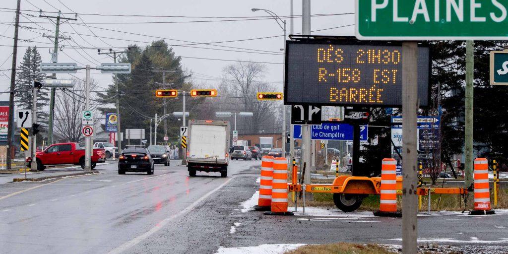 Préparez votre parenté, la 158 est fermée toute la fin de semaine entre la rue des Mésanges et le chemin de l'Achigan.