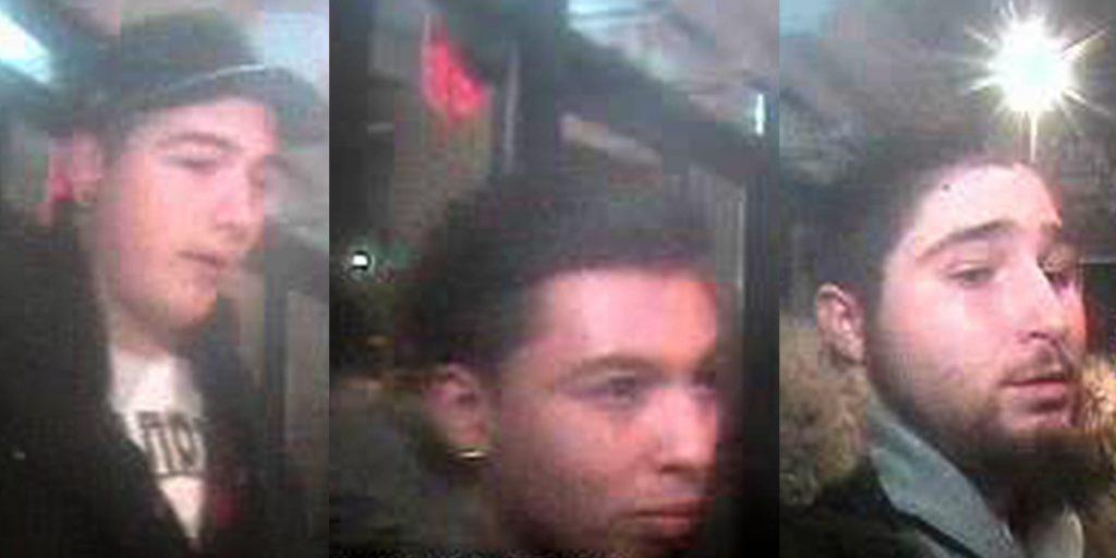 Les deux premières personnes sont des suspects dans une affaire de voies de fait au Vieux Shack, le 1er janvier. Le troisième est un témoin important de l'événement, selon les policiers.