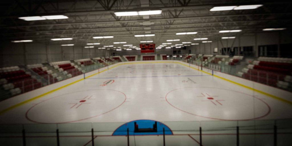 Il y avait des lignes sur la surface du nouvel Aréna régional de la Rivière-du-Nord, le 25 janvier 2016.