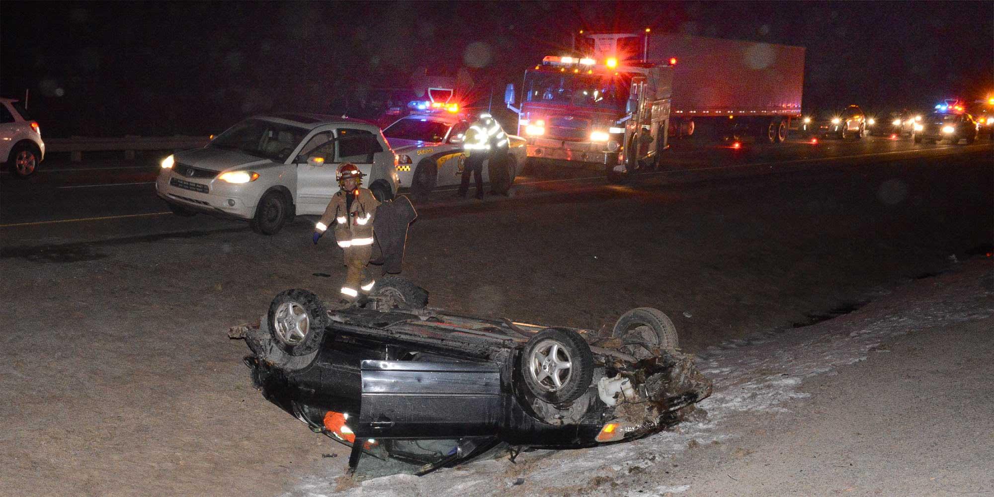L'accident a ralenti le trafic sur près de 5 kilomètres, du Carrefour du Nord jusqu'à peu avant la Porte du Nord. Photos par André Bernier