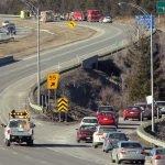 On détournait le trafic de l'autoroute 15 par la sortie 55, à Prévost, le 20 mars 2016. Photos par Alexandre Parent Léveillé