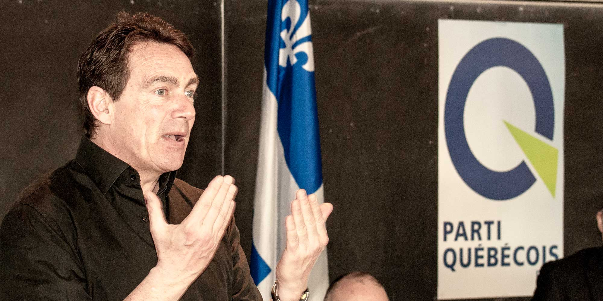 Pierre Karl Péladeau à Saint-Jérôme alors qu'il était député la circonscription du même nom.