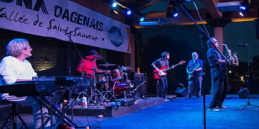 En compagnie de plusieurs amis artistes, Dan Martel a fait vibrer la foule au Festival de blues de Saint-Sauveur, le 30 juillet 2016.