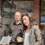 Les responsables de la compagnie de Taxi de Saint-Jérôme, Alain Jasmin et Steven Morin, ont rencontré Martine Ouellet et Marc Bourcier, du Parti québécois, qui sont contre le service UberX au Québec, le 2 septembre 2016 à Saint-Jérôme.