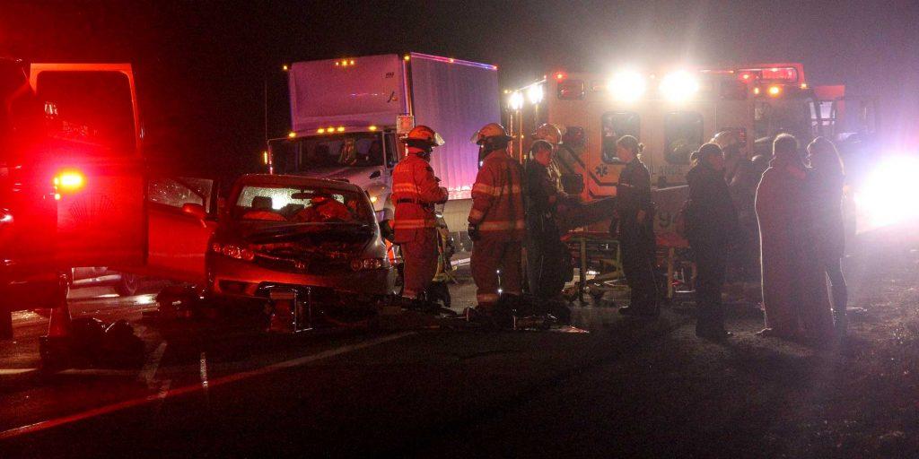 L'accident a causé la fermeture de la route 158, en fin d'après-midi le 18 novembre 2016. Photos par Alexandre Parent-Léveillé
