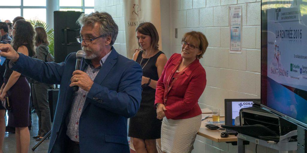 Michel Métivier lors du cocktail de la rentrée de la Chambre de commerce et d'industrie Saint-Jérôme métropolitain, le 20 septembre 2016.