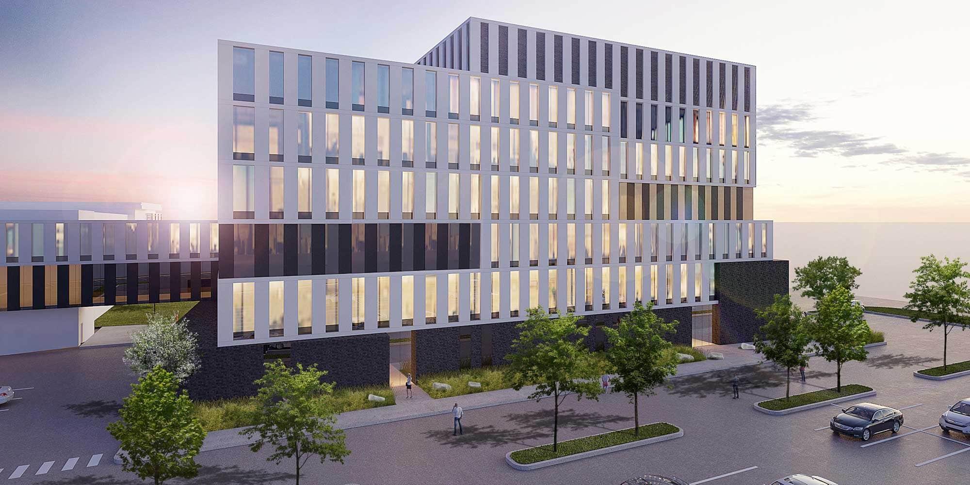 Le nouvel immeuble, d'allure résolument moderne, sera relié au palais de justice, qu'on distingue ici à gauche, et occupera l'actuel stationnement.