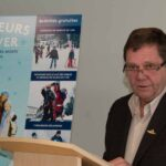 Le maire de Sainte-Agathe-des-Monts, Denis Chalifoux, alors qu'il annonçait les activités de Bonheurs d'hiver, le 9 décembre 2016.