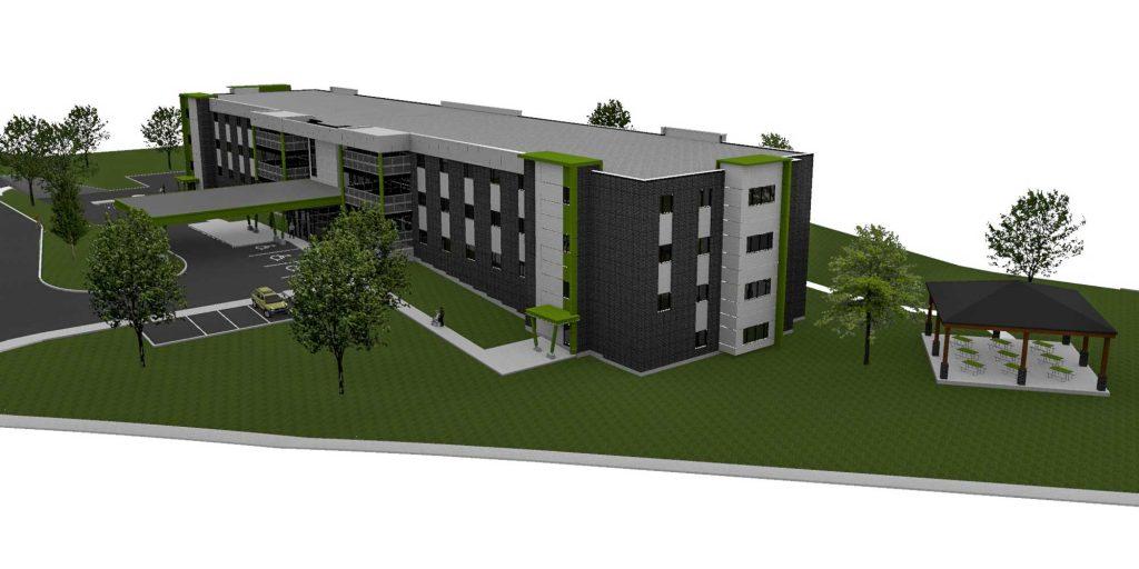 Le nouveau CHSLD de 99 lits qui sera construit sur le boulevard J.-B.-Rolland, entre le boulevard Jean-Paul-Hogue et l'avenue Rolland.