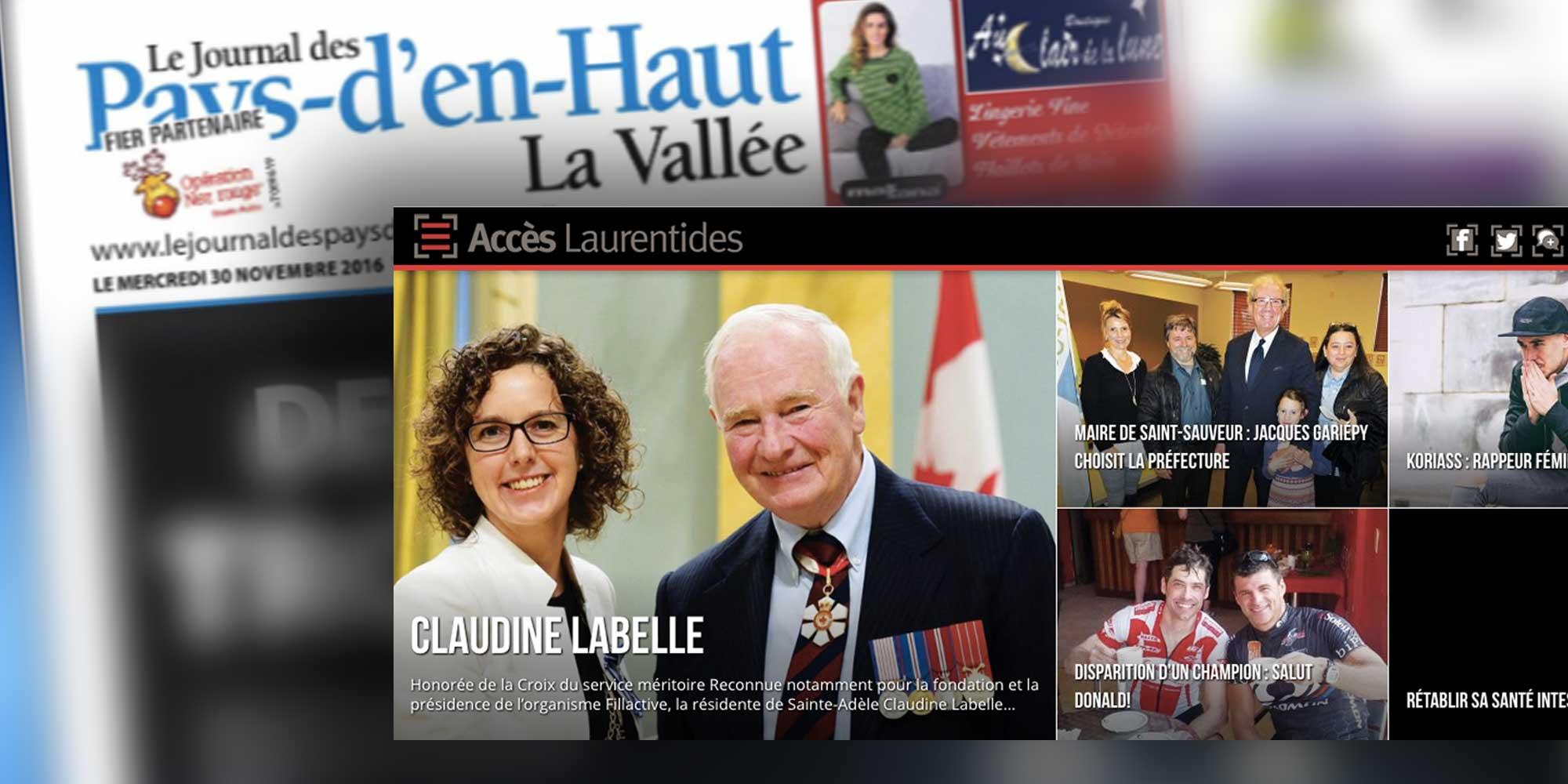 Accès a annoncé être devenu propriétaire du Journal des Pays-d'en-Haut - La Vallée, le 30 novembre 2016.