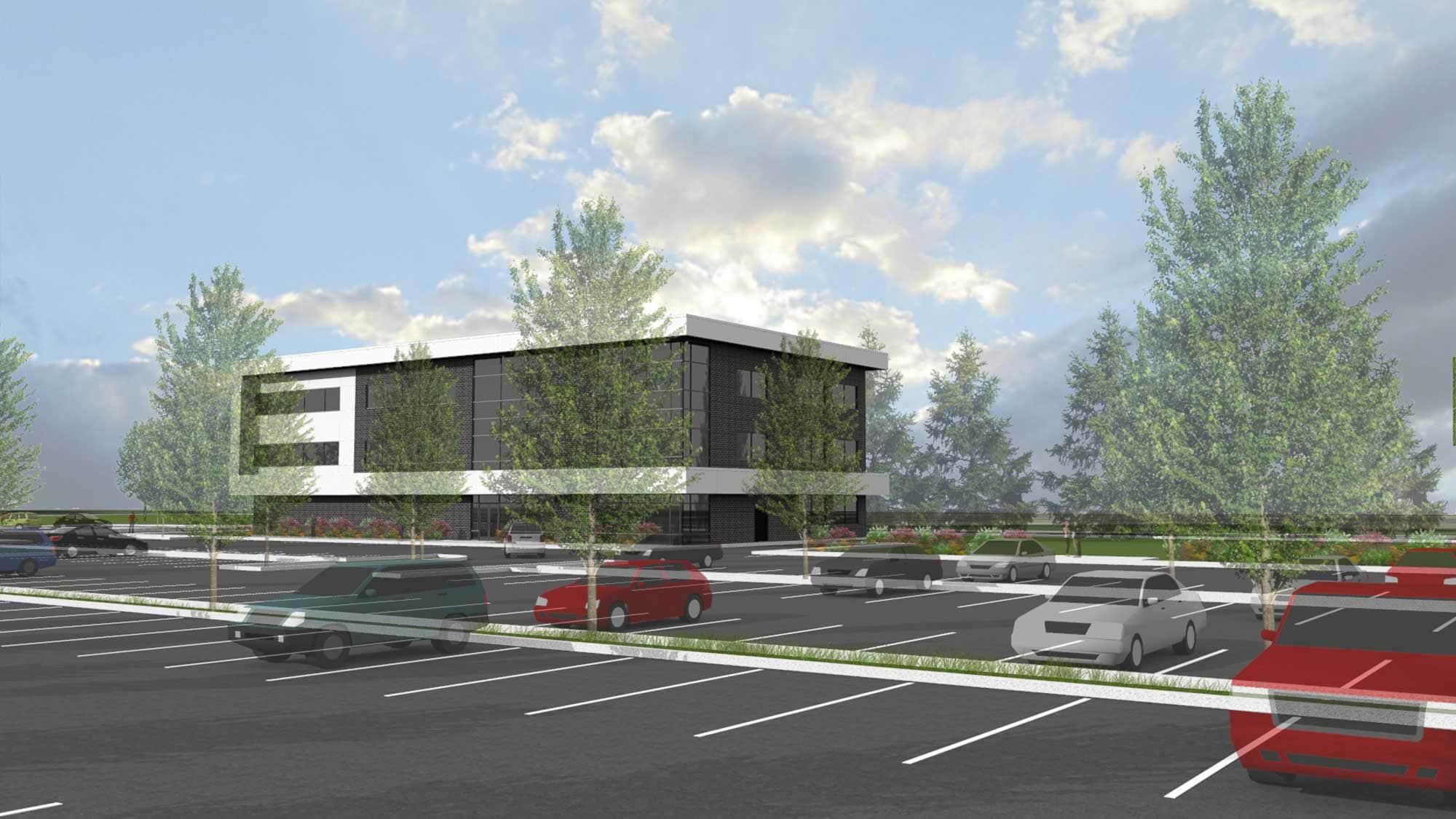La clinique que le promoteur Médifice se dit prêt à construire dès l'octroi d'un permis d'imagerie médicale. Dans une seconde phase, un autre bâtiment semblable s'ajouterait à côté.