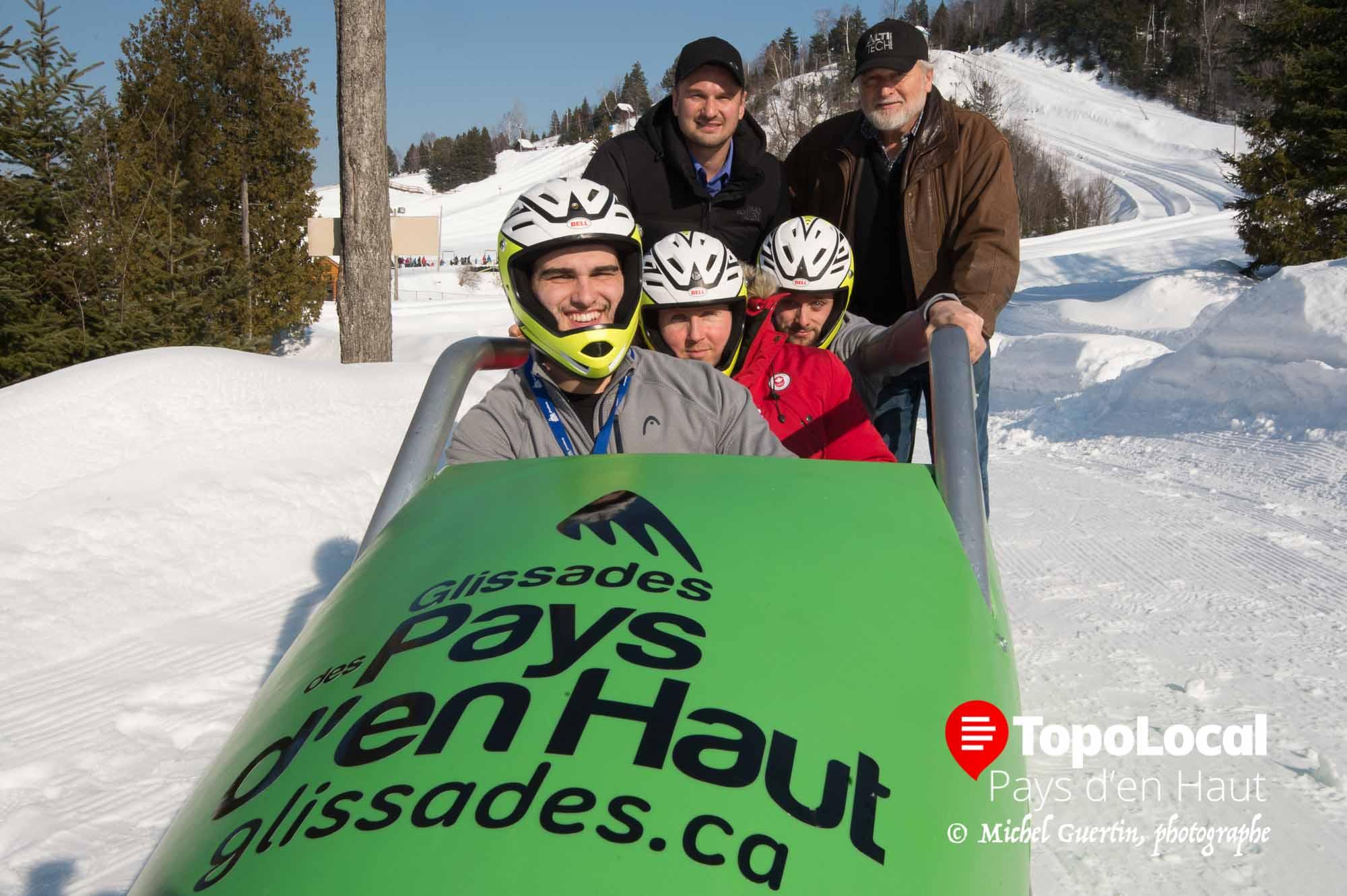 Dans le bobsleigh, les athlètes William Auclair, Yannik Morin et Gabriel Chiasson, poussés par Nicolas et Mercier Raymond, concepteurs des bolides.