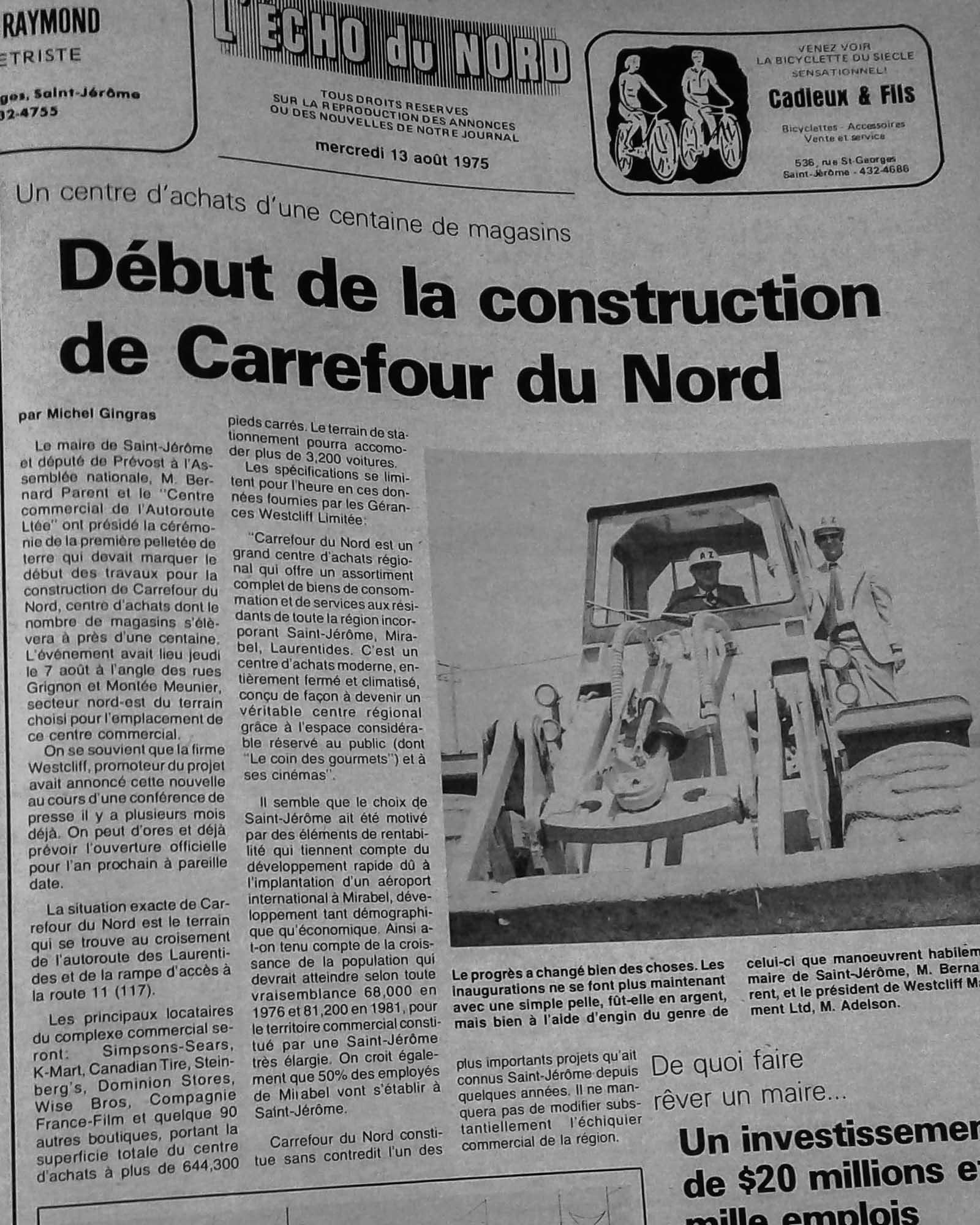 La page Une de L'Écho du Nord du 13 août 1975, alors que débutait la construction du Carrefour du Nord.