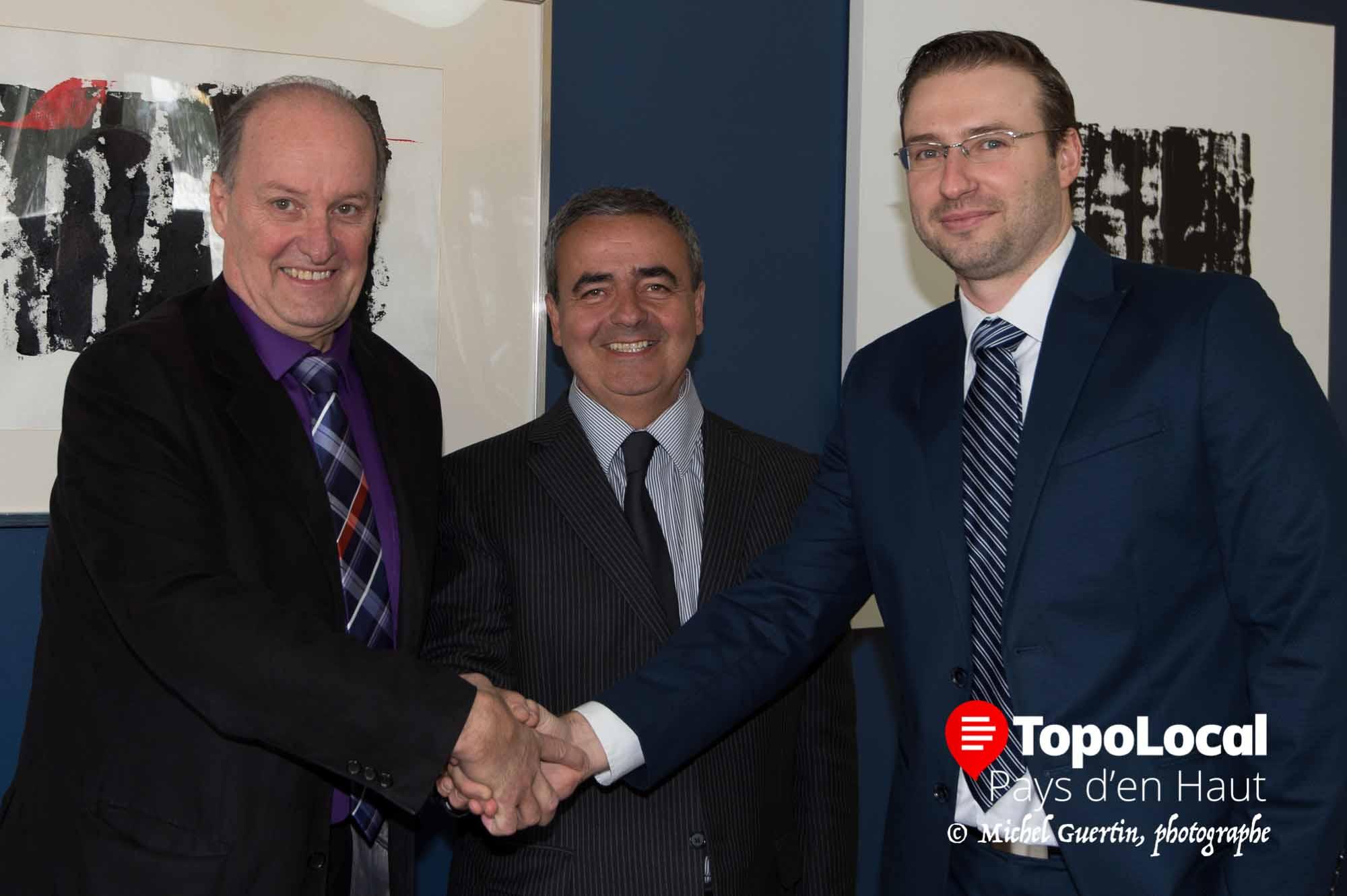 Les trois propriétaires Yves de Carufel, Pierre Senez et Marek Glanas étaient heureux d'annoncer leur nouvelle association.