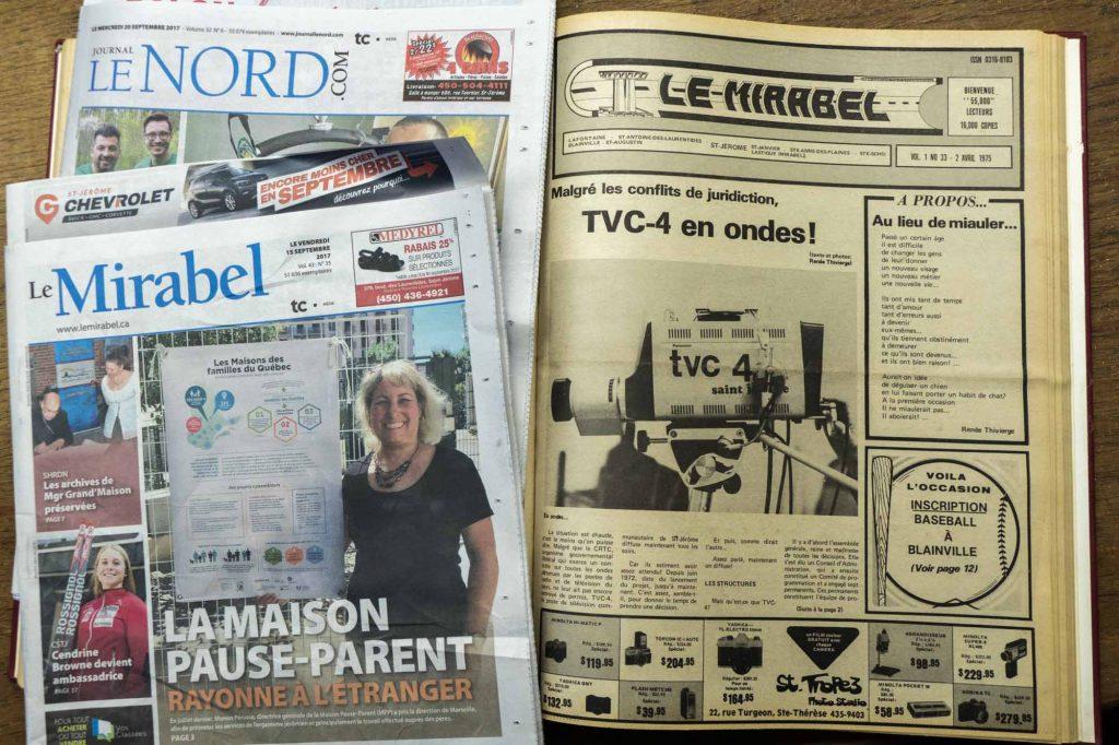 Le premier numéro du Mirabel qui portait la mention Saint-Jérôme en une, le 2 avril 1975.