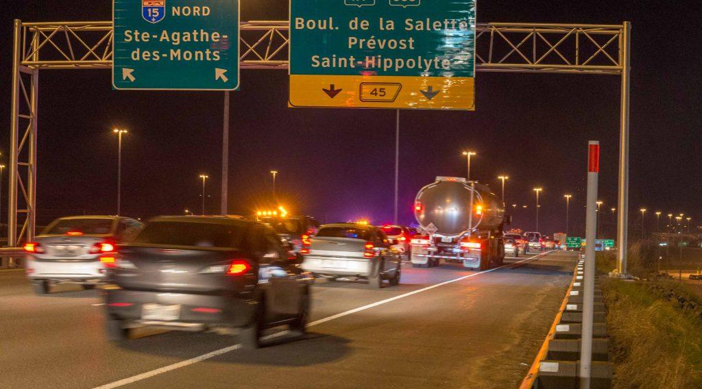 Toute la circulation vers le Nord sur l'autoroute 15 était dirigée vers la route 117.