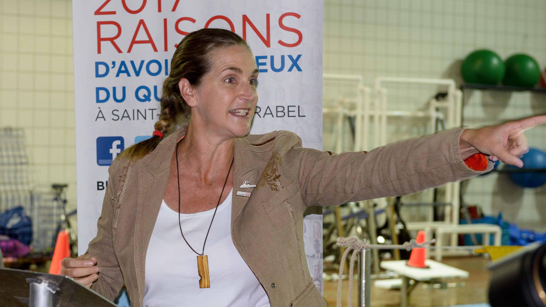 Sylvie Fréchette, en septembre 2014, lors de la campagne pour la candidature de Saint-Jérôme et Mirabel pour la tenue des Jeux du Québec de 2017.