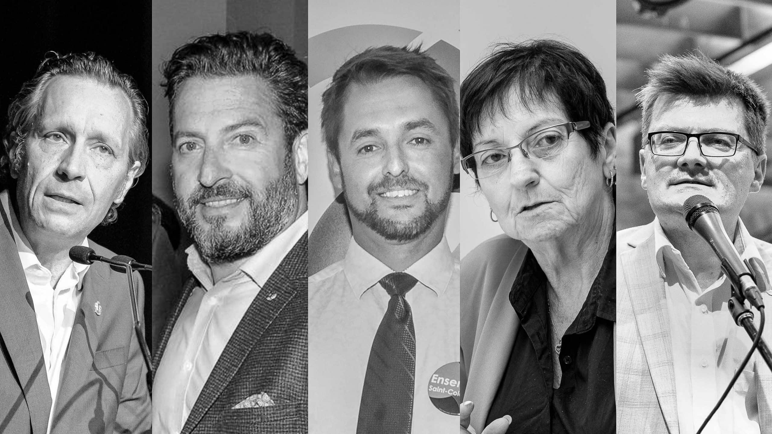 Les maires de la MRC Rivière-du-Nord Stéphane Maher, Bruno Laroche, Xavier-ANtoine Lalande, Louise Gallant et Paul Germain.